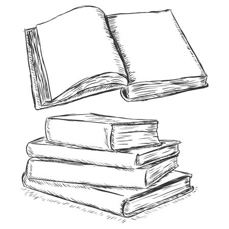 ベクター スケッチ イラスト - 空白の開いている本と書籍のスタック