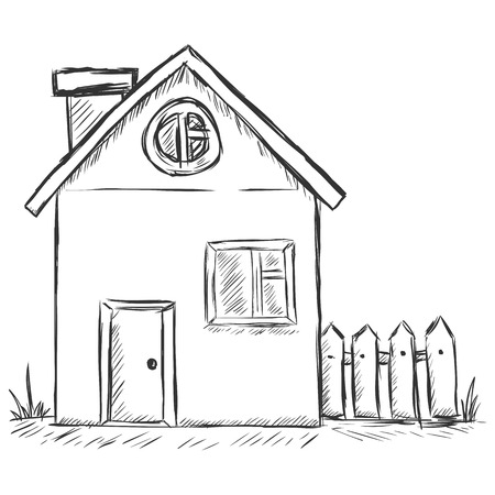 country house: vector sketch illustration - country house Illustration