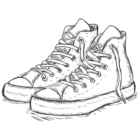 vector sketch illustration - hip-hop gumshoes