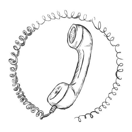 handset: vector sketch illustration - telephone handset