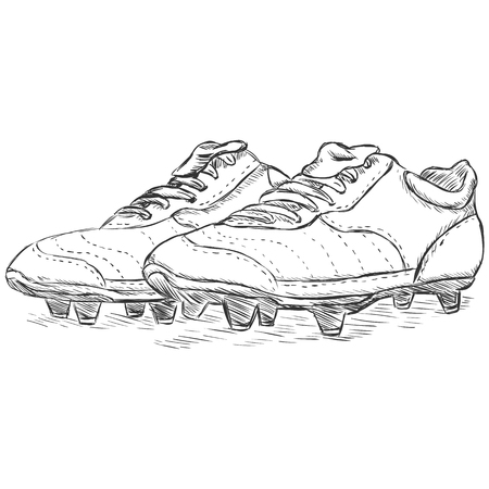 vector sketch illustration - football boots