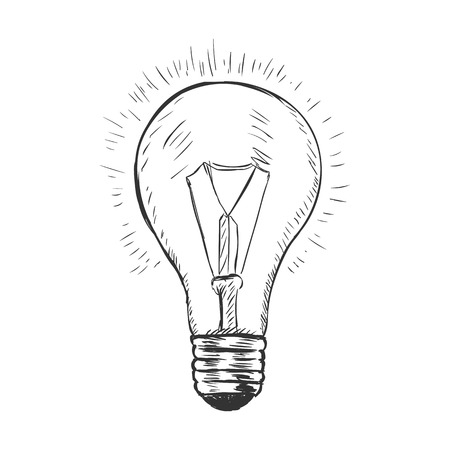 vector sketch illustration - light bulb