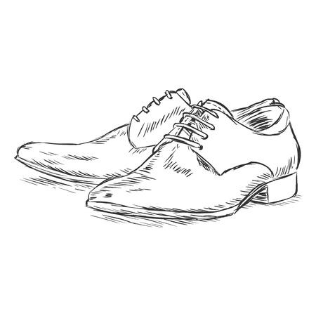 vector sketch illustration - mens shoes