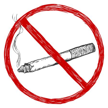 vector sketch illustration - no smoking sign