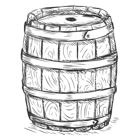 wooden barrel: Vector Sketch Illustration - old wooden barrel Illustration