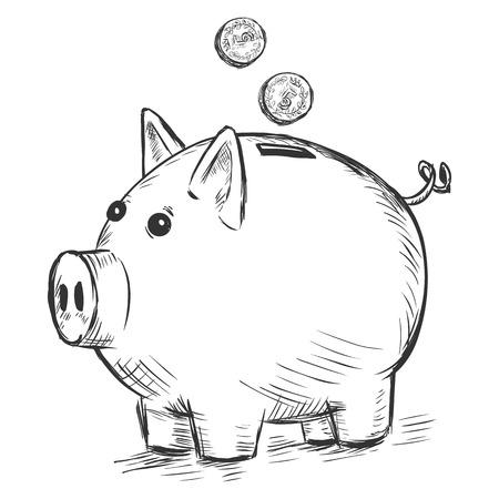 vector sketch illustration - piggy bank