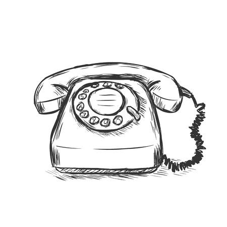 ベクター スケッチ イラスト - 古いダイヤル式電話  イラスト・ベクター素材