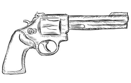 gat: vector sketch illustration - revolver