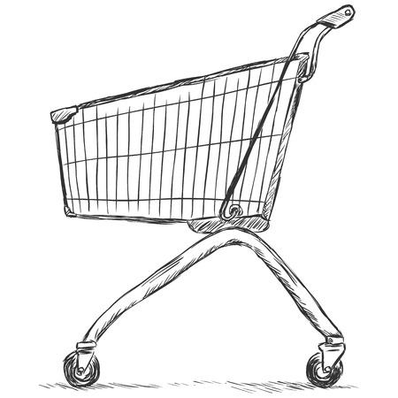 bogie: vector sketch illustration - trolley for shopping