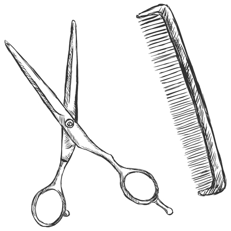 vector sketch illustration - scissors and comb Vectores