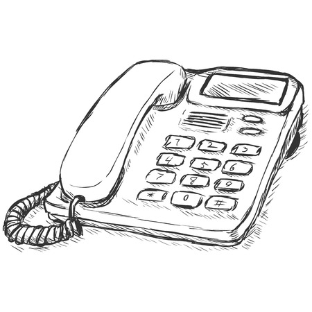 Vector Sletch Illustration - Office Phone