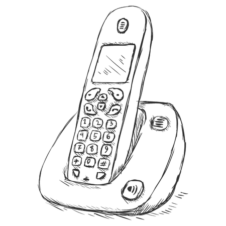 cordless phone: Vector Sketch Illustration - ?ordless Phone Illustration