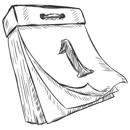 vector sketch illustration - tear-off calendar