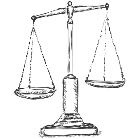 impartiality: vector sketch illustration - antique scales