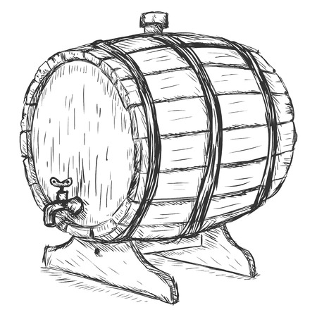bbl: Vector Sketch Illustration - wooden wine barrel with faucet