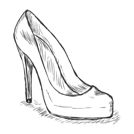 women's shoes: vector sketch illustration - womens shoes Illustration