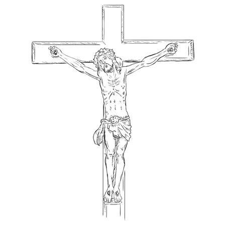 golgotha: Vector  Sketch Crucifix. Jesus on the Cross. Illustration