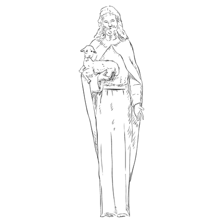 godliness: Vector Sketch Jesus with a Lamb