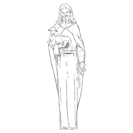 nazareth: Vector Sketch Jesus with a Lamb