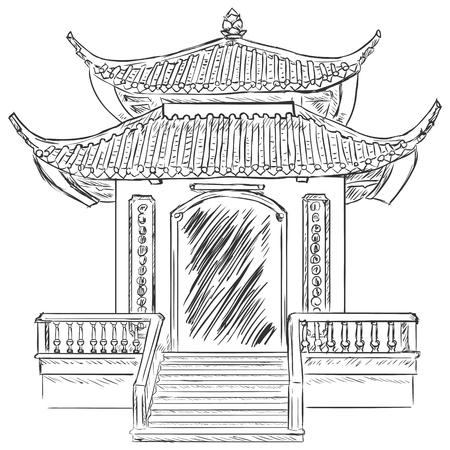 buddism: Vector Sketch Buddist Pagoda