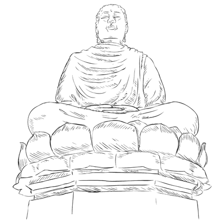 godliness: Vector Sketch Monument Buddha on the Lotus