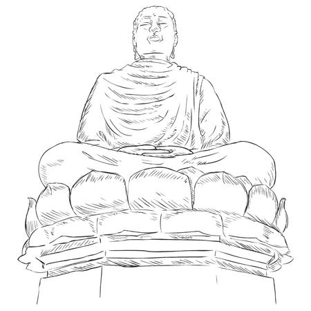 buddism: Vector Sketch Monument Buddha on the Lotus
