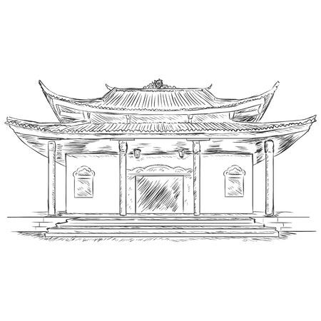 godliness: Vector Sketch Buddist Pagoda