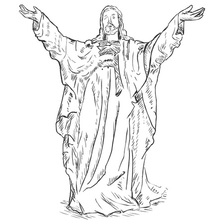godliness: Vector Sketch Jesus Christ with Hands Raised