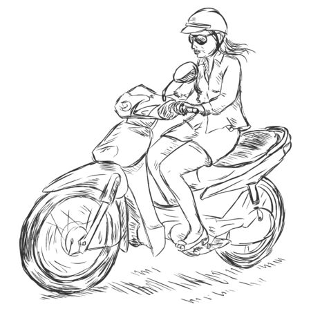 Vector Sketch Woman on a Motorbike