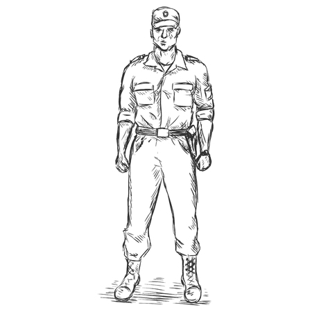 Vector Sketch Service Man Illustration