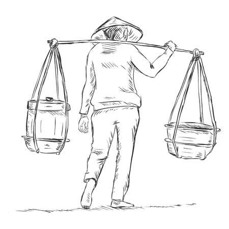 Vector Sketch Vietnamese Vendor with a Scale-Beam Vector Illustration