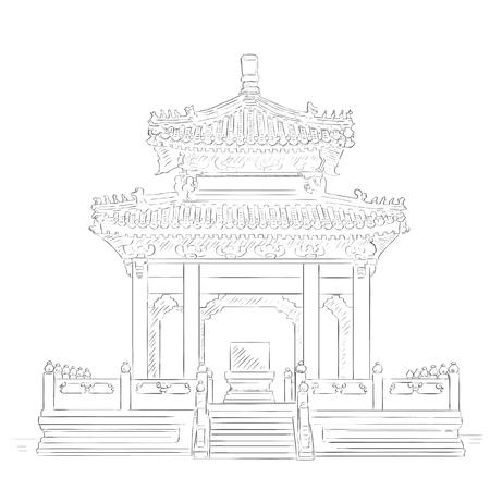 pavilion: Thailand and China Friendship Pavilion at Lumphini Park, Bangkok. Illustration