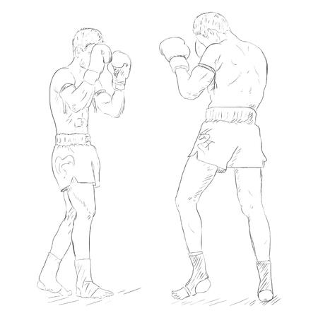 muay thai: Vector Sketch Two Thai Boxers Fighting. Muay Thai.