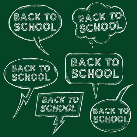 replica: Vector Set of Chalk Sketch Bubbles - Back to School on Chalkboard Background