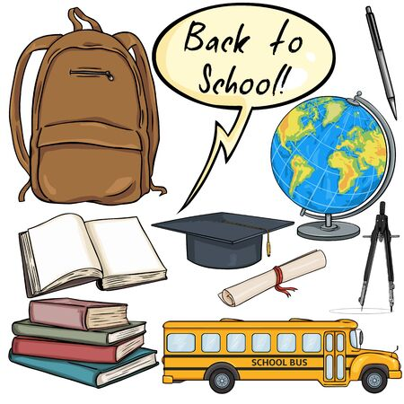 packsack: Vector Set of Cartoon School Objects - Back to School