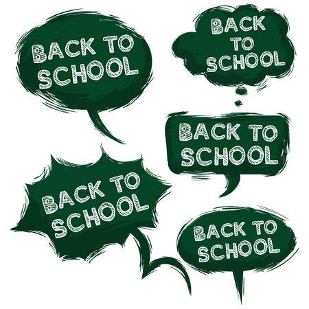 grundge: Vector Set of Grundge Green Bubbles - Back to School Illustration