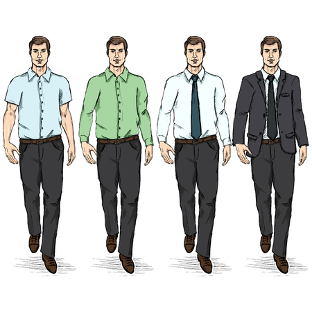 mode: Vector Set of Sketch Men Models. Business Dress Code