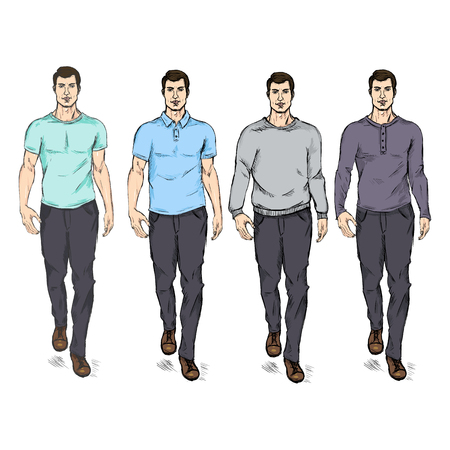 he is beautiful: Vector Set of  Sketch Fashion Male Models in Casual Wear