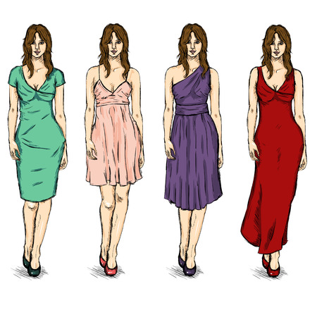 Vector Set of Sketch Female Fashion Models