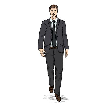 business suit: Vector Sketch Men Model in Black Suit. Business dress code. Illustration