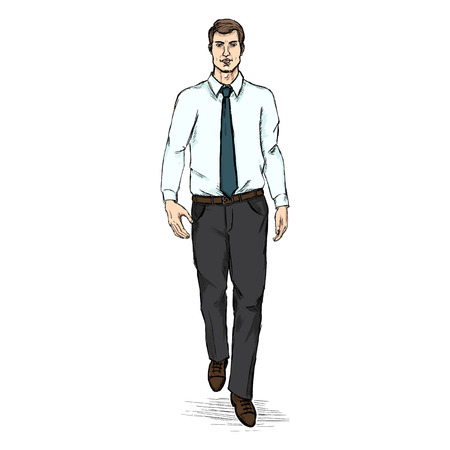 he is beautiful: Vector Sketch Men Model in White Shirt and Blue Tie. Business dress code.