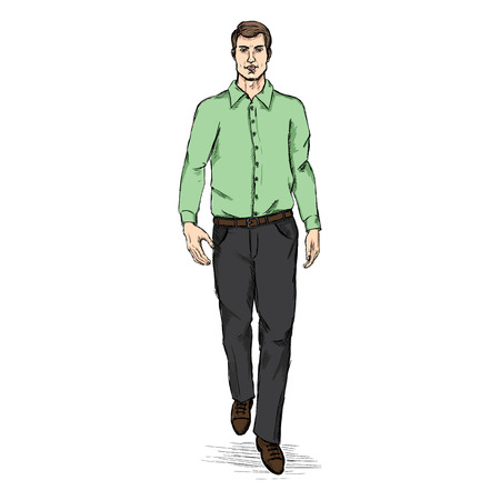 he is beautiful: Vector Sketch Men Model in Shirt and Trousers. Business dress code.