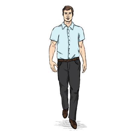 short dress: Vector Sketch Men Model in Short Sleeve Shirt. Business dress code.
