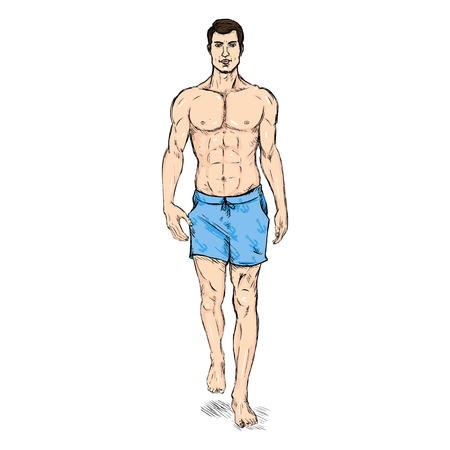 he is beautiful: Vector Single Sketch Illustration -  Fashion Male Model in Blue Beach Shorts