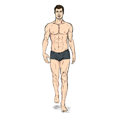 Vector Single Sketch Illustration -  Fashion Male Model in Underwear