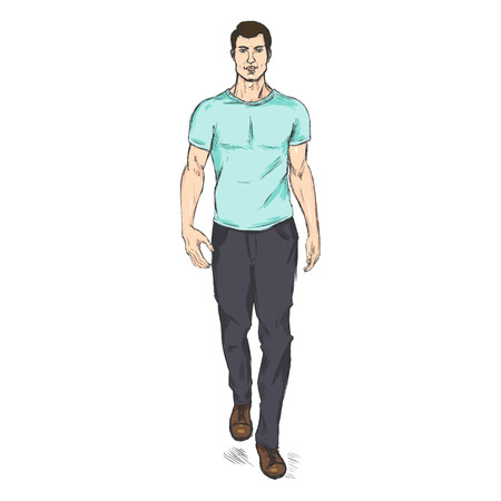 male model: Vector Single Sketch Illustration -  Fashion Male Model in Trousers and Turquoise T-Shirt Illustration