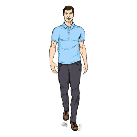 Vector Single Sketch Illustration -  Fashion Male Model in Trousers and Blue Polo Shirt