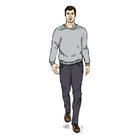 sweatshirt: Vector Single Sketch Illustration -  Fashion Male Model in Trousers and  Gray Sweatshirt Illustration