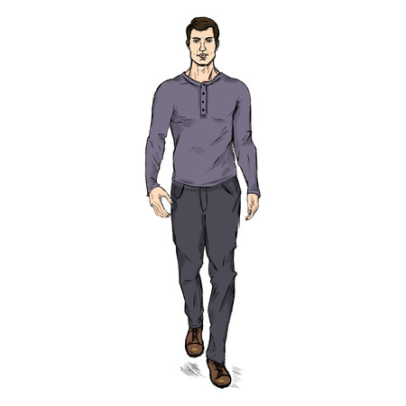 he is beautiful: Vector Single Sketch Illustration - Fashion Male Model in Trousers and Purple Longsleeve Shirt