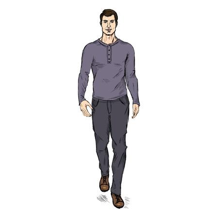 male model: Vector Single Sketch Illustration - Fashion Male Model in Trousers and Purple Longsleeve Shirt